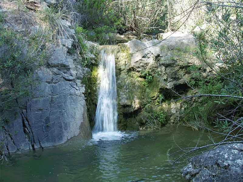 An image of a waterfall within the grounds
